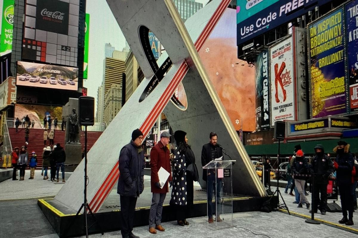 Giant Heart Sculpture Arrives in Times Square for Valentine's Day