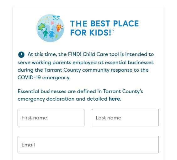 Child Care Search Tool Launched in Tarrant County for Essential Workers