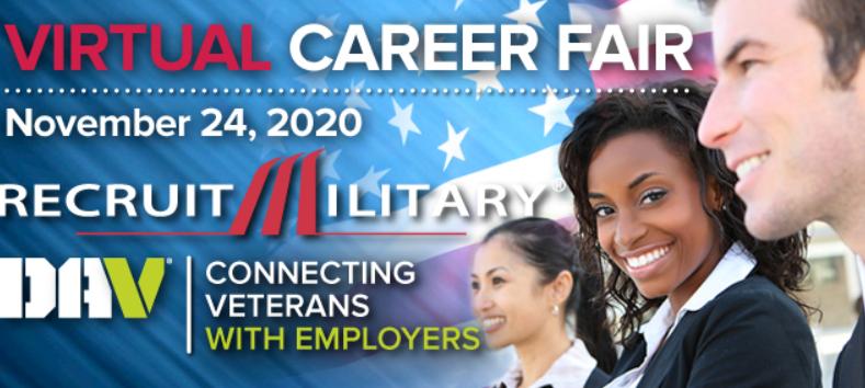National Virtual Career Fair for Veterans November 24th, 100+ Employers Hiring