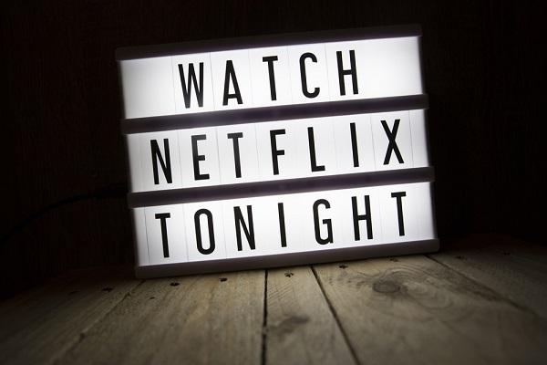 """light screen that reads"""" Watch Netflix Tonight"""""""