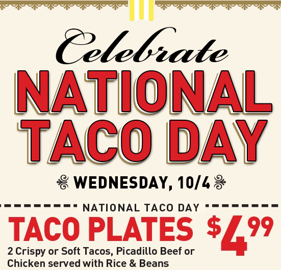 Wednesday Oct 4th Is National Taco Day Let S Taco About Taco Specials Kplx Fm