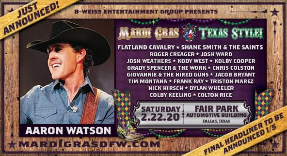 JUST ANNOUNCED: Aaron Watson at Wolf Mardi Gras Texas Style 2020!