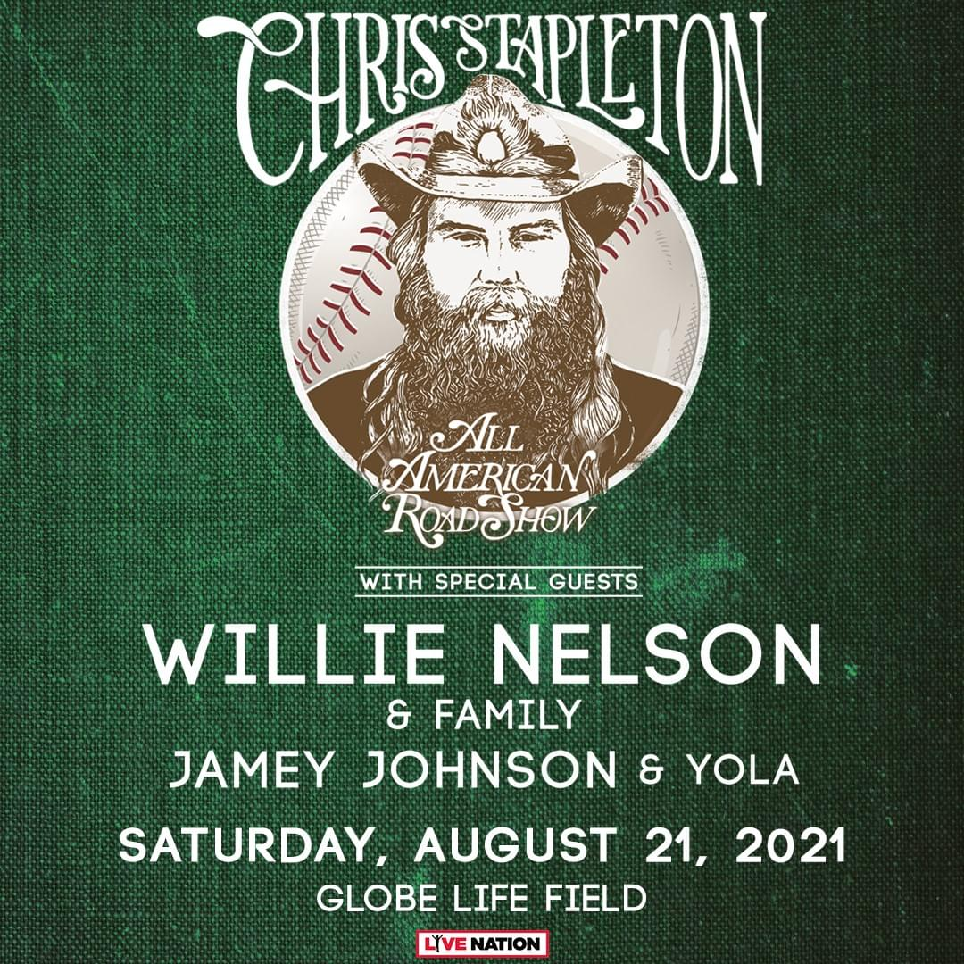 New Rescheduled Date: Chris Stapleton At Globe Life Field on Aug. 21st!