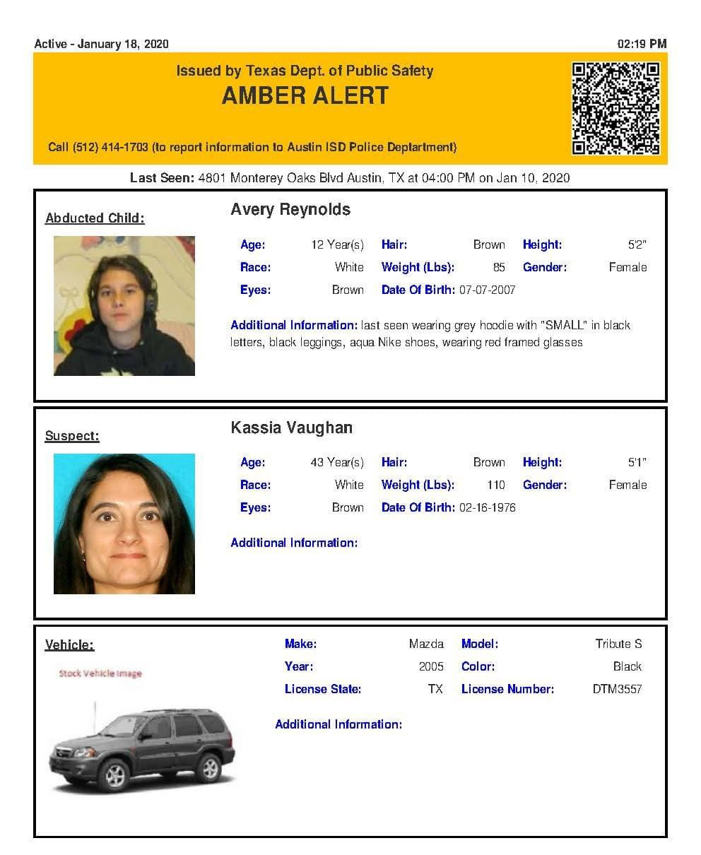 Amber Alert For an Austin Area Girl Issued Saturday Afternoon