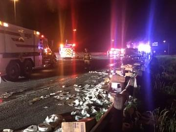 18-Wheeler Carrying Toilet Paper Overturns, Catches Fire in Hutchins