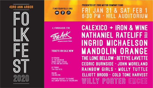 1/31/20 – Ann Arbor Folk Festival-Calexico & Iron & Wine, Ingrid Michaelson at The Hill Auditorium