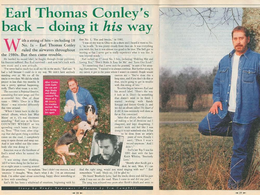 "Earl Thomas Conley's 1998 Interview in ""Country Weekly"" Magazine: ""Life Is a Spiritual Experience, Music Is the Heart of That"""