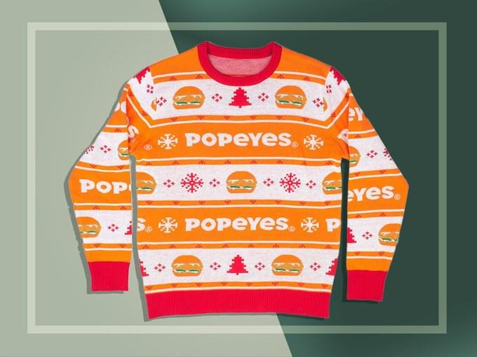 Popeye's Is Now Selling A Ugly Christmas Sweater With Their Chicken Sandwich On It!