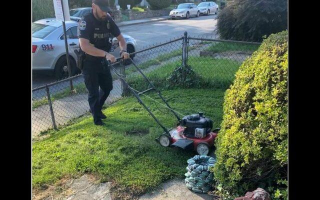 Officer Mows Grass For Elderly Woman During Wellness Check