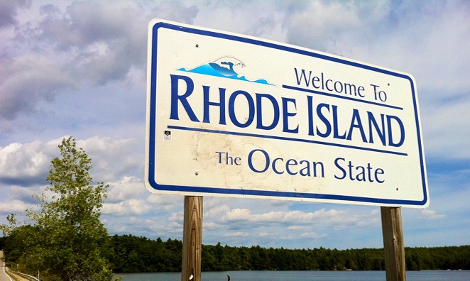 """Pachaug Trail - """"Welcome to Rhode Island sign"""" at Beach Pond, Ho"""