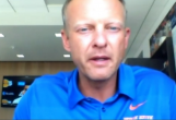 Coach Bryan Harsin talks to local media about the Broncos' postponed season