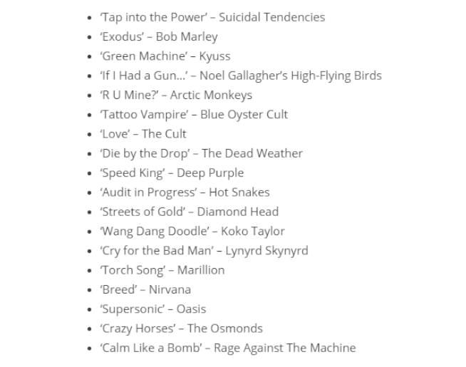 Lars Ulrich's favorite songs