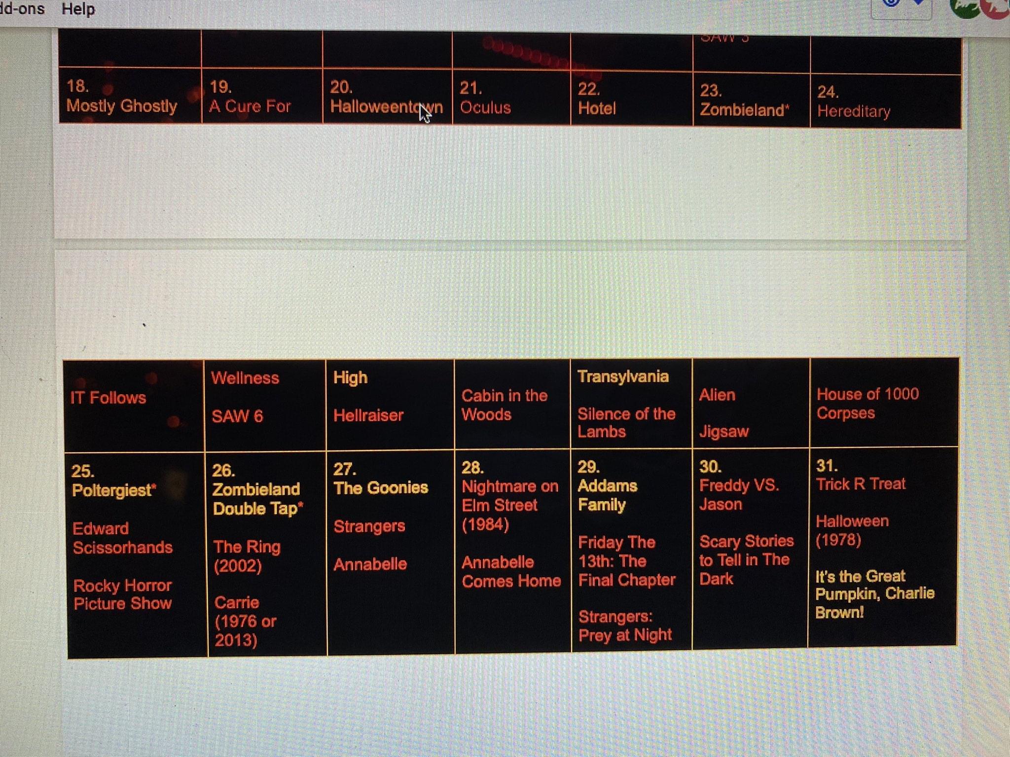 The Ultimate Halloween Movie Calendar