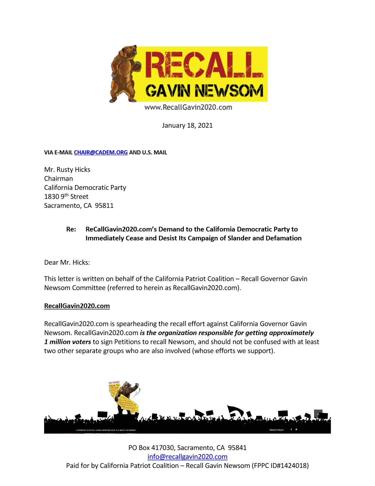 Recallgavin2020.com: Dems must cease and desist defaming recall supporters