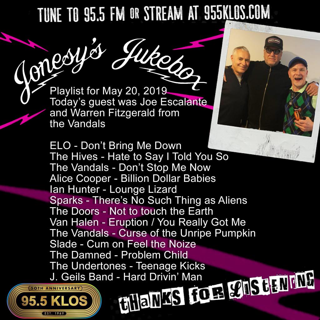 Jonesy's Jukebox 5/20/19