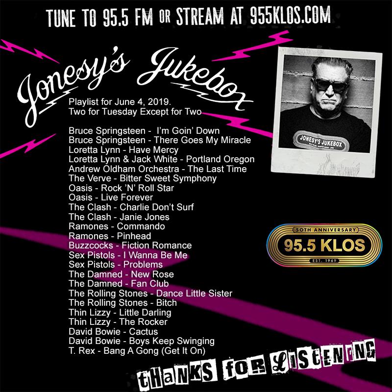 Jonesy's Jukebox 6/04/19