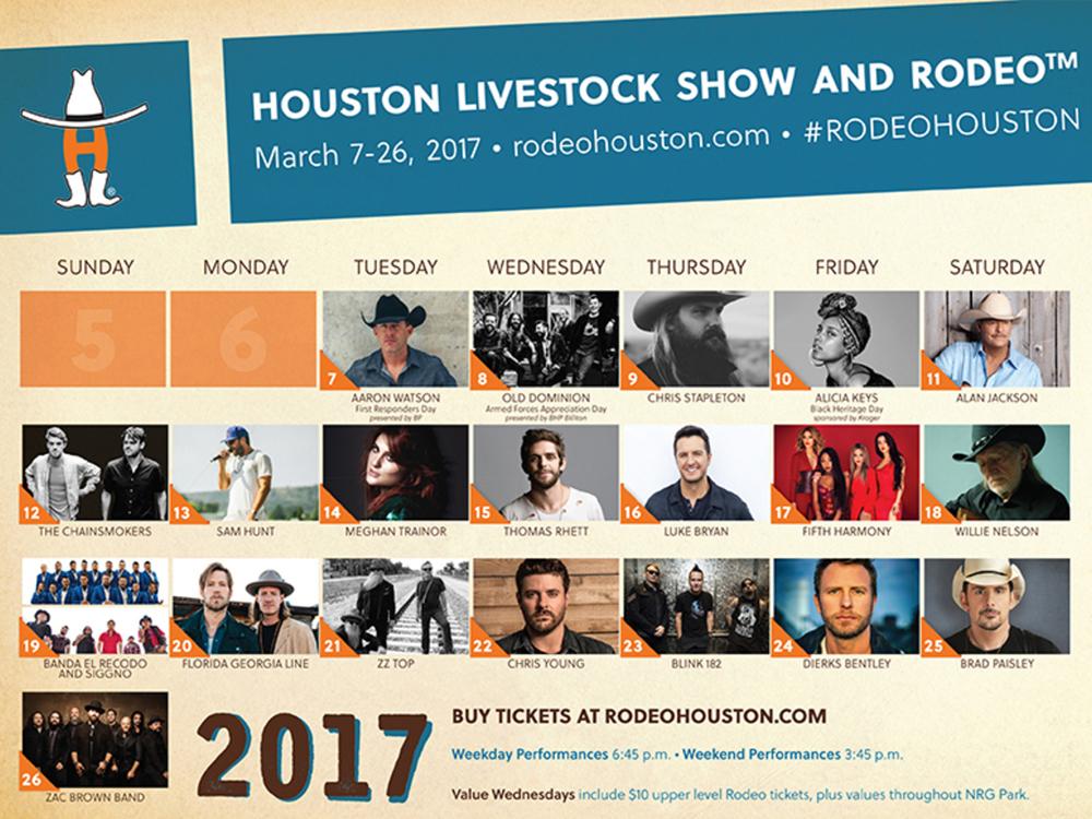 Houston Rodeo Announces Star-Studded 2017 Lineup, Including Willie Nelson, Alan Jackson, Luke Bryan, Thomas Rhett, Sam Hunt, FGL, ZBB, Dierks Bentley, Chris Stapleton & More