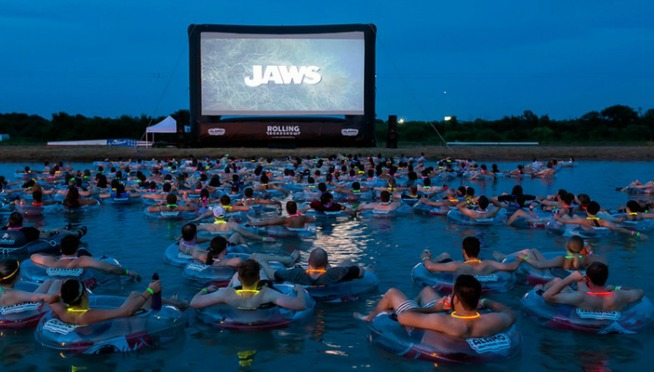 CREEPY! Watch JAWS while floating a lake