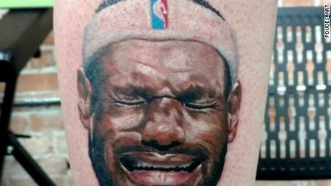 Michael Jordan fan gets crying LeBron James tattoo