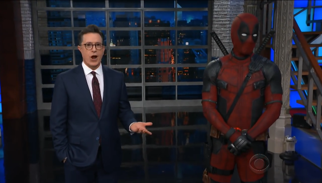 Deadpool hilariously crashes Stephen Colbert's monologue on 'Late Show'