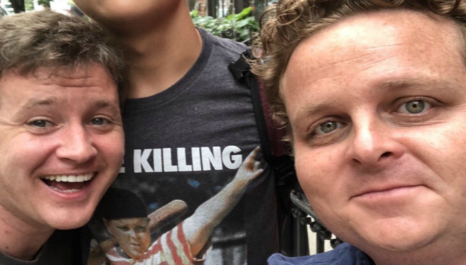 "Guy meets actors from ""The Sandlot"" t-shirt he's wearing….and doesn't even realize it."