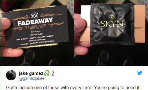 Barber hands out condoms with his business cards… but you shouldn't use them