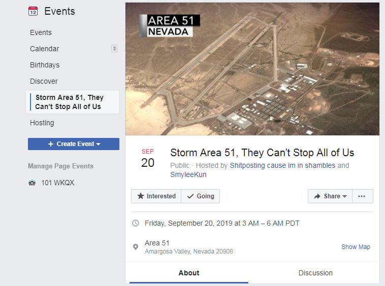 There's a Facebook event to raid Area 51, you in?
