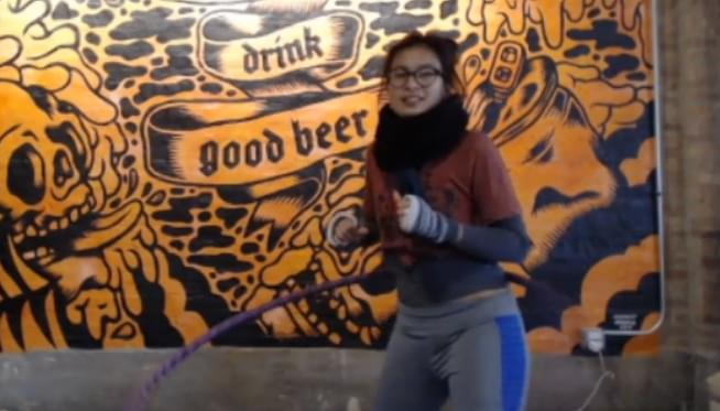 Wicker Park's Jenny Doan is currently hula hooping to a Guiness World Record