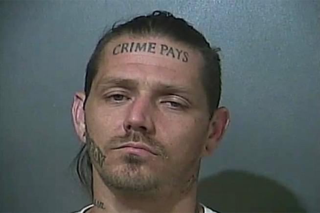 Indiana man with 'Crime Pays' tattooed on his head runs from police