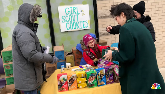 Girl Scouts selling cookies at Uptown pot dispensary