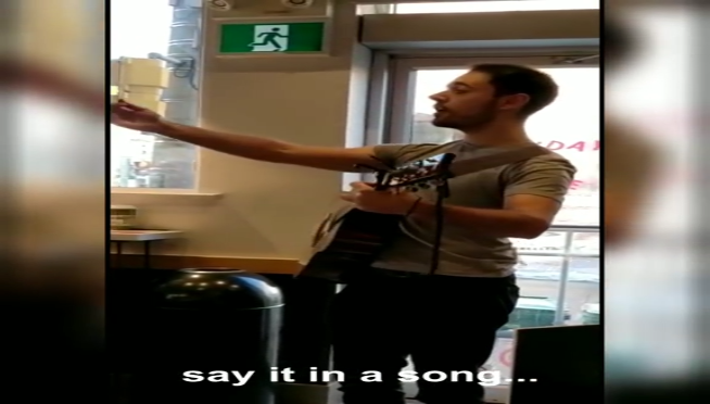 Guy quits job by singing a dirty song