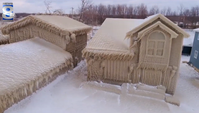 Houses covered in ice on Lake Erie