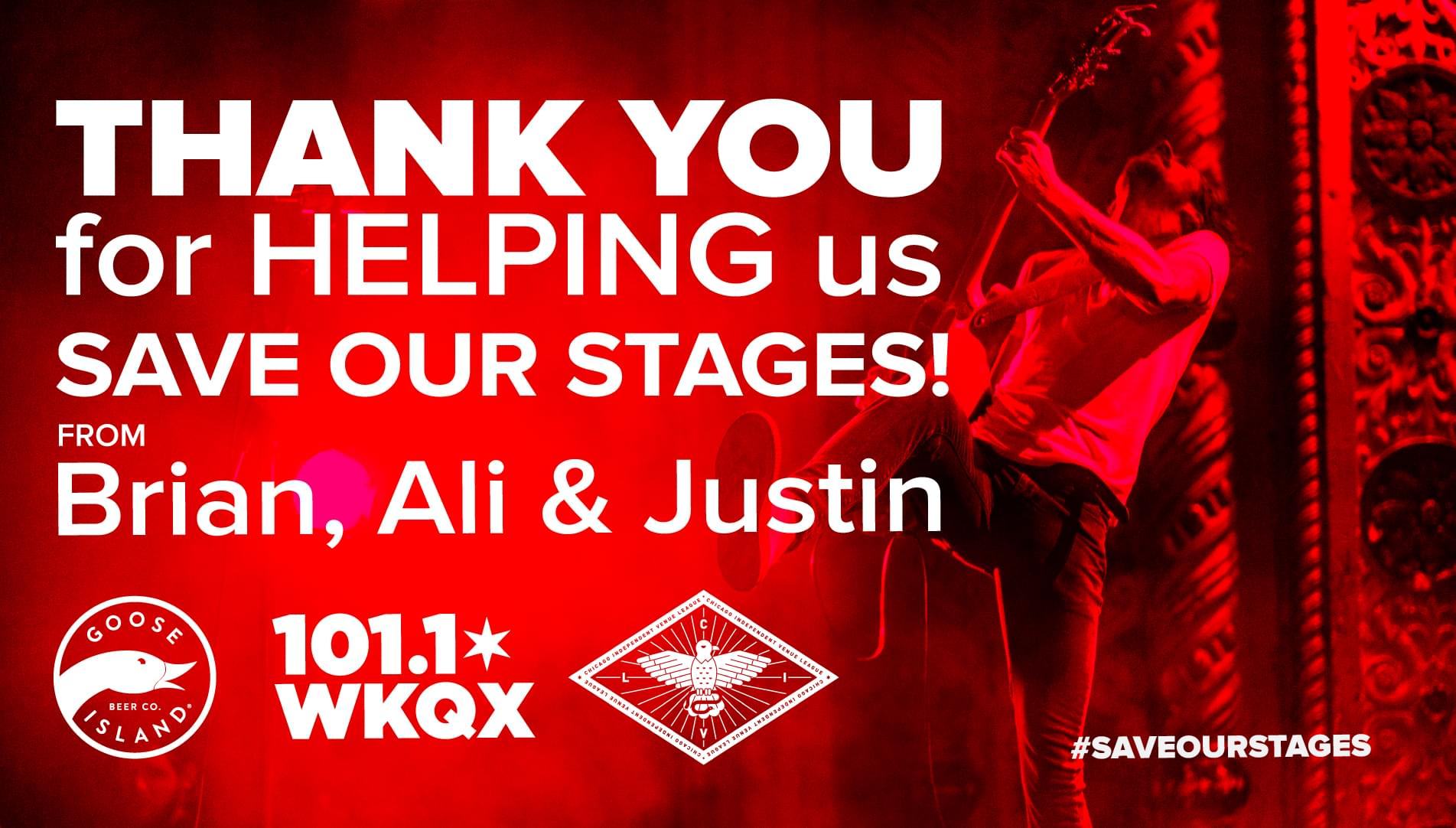 Brian, Ali and Justin: Save Our Stages Radiothon!