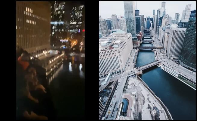Group films themselves on a raised bridge above Chicago River