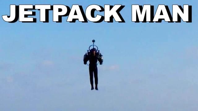 Jetpack man flies near planes