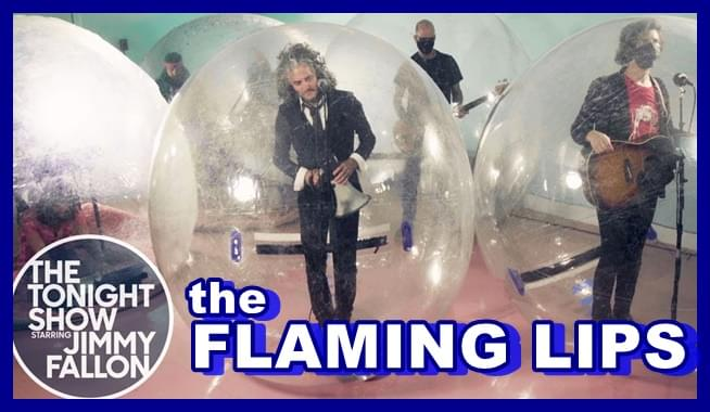 The Flaming Lips perform inside bubbles on Tonight Show