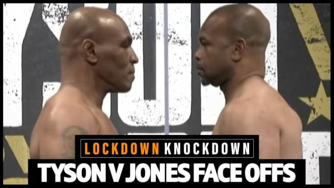 Watch Mike Tyson & Roy Jones Jr. face off before PPV fight