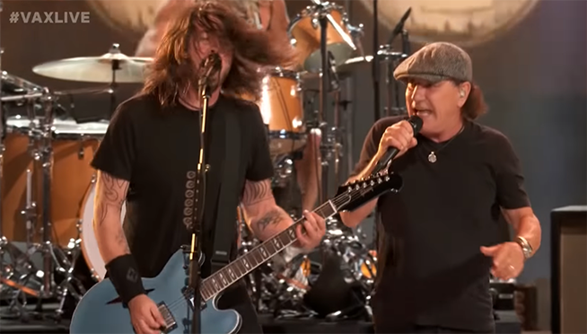 "Foo Fighters, AC/DC's Brian Johnson rock out at ""Vax Live"""