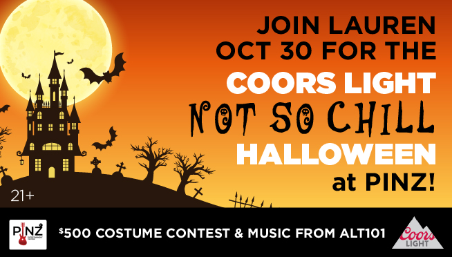 """10/30/21 – Join Lauren at The Coors Light  """"NOT SO CHILL"""" Halloween Bash at Pinz in Yorkville."""