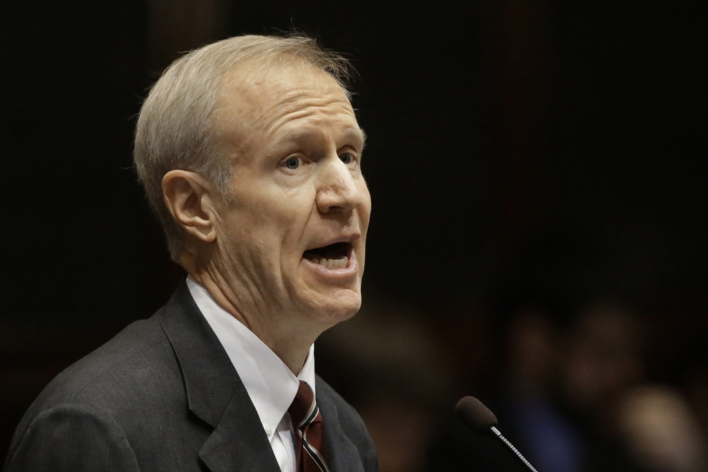 FILE - In this Feb. 17, 2016 file photo, Illinois Gov. Bruce Rauner speaks at the Illinois State Capitol in Springfield, Ill. Rauner said Monday March 21, 2016, that he'll support whoever the Republican nominee for president is, including if it's Donald Trump. Rauner made the statement during his first public comments since last week's election where Trump won the GOP presidential primary in Illinois. (AP Photo/Seth Perlman)