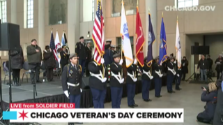Mayor & Governor preside over Chicago's Veterans Day event at Soldier Field