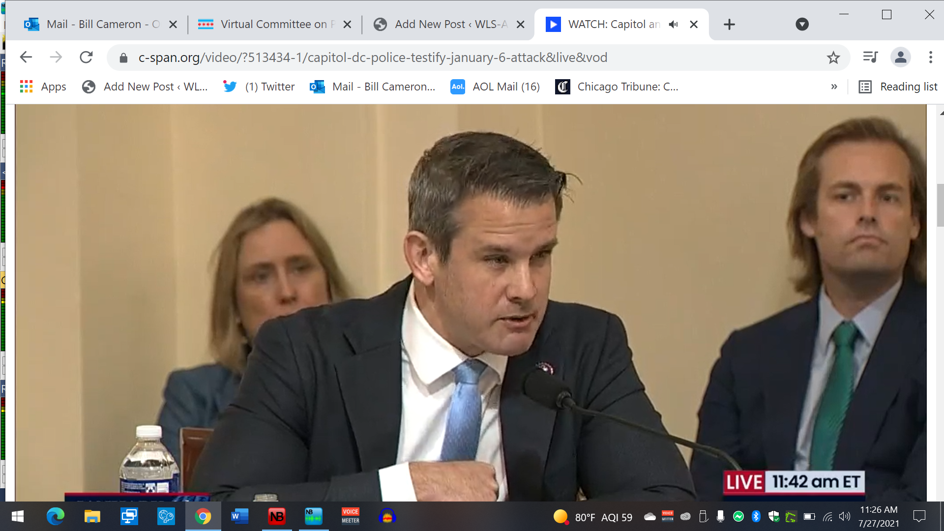 Kinzinger chokes-up thanking officers for holding the line Jan 6th