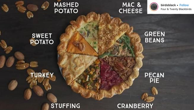 Check out this pie!! It's an ENTIRE Thanksgiving Meal!!