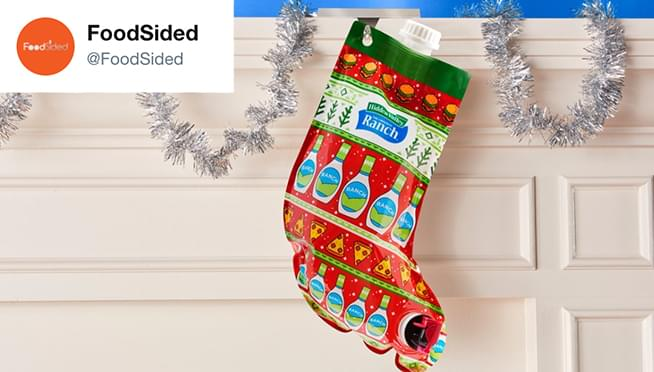 Hidden Valley is selling a Christmas stocking filled with RANCH DRESSING