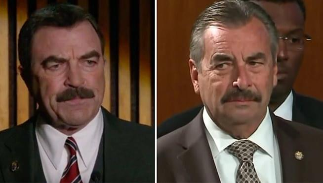 Is the interim CPD Police Chief Charlie Beck actually actor Tom Selleck?