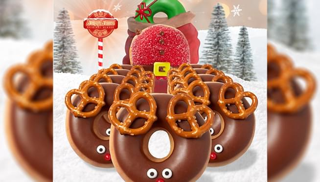Krispy Kreme is selling Christmas reindeer doughnuts with pretzel antlers