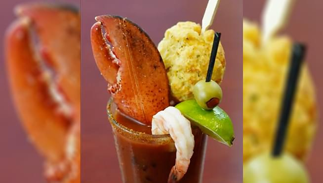 Red Lobster's new Bloody Mary is topped with a cheddar biscuit and lobster claw