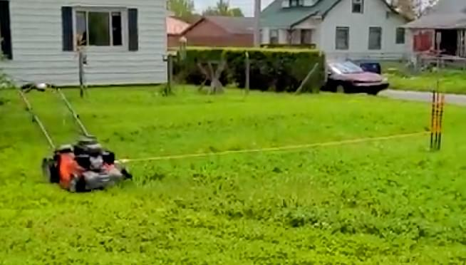 WATCH this amazing and hilarious lawn mowing hack actually work!