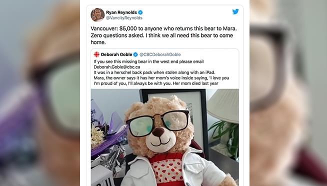 FOLLOW UP: Stolen teddy bear that Ryan Reynolds put up $5,000 reward for has been found