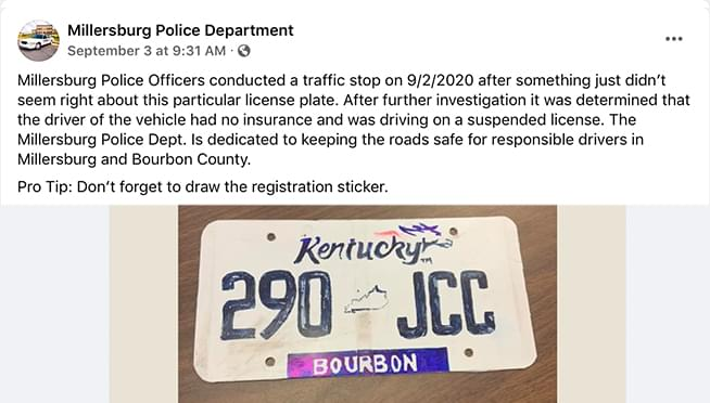 Driver pulled over for hand-drawn plates